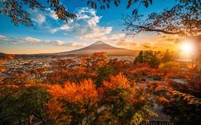 Картинка осень, пейзаж, природа, гора, Япония, заход, Фудзияма