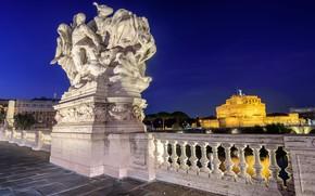 Картинка Рим, Италия, Замок Святого Ангела, мост Виктора Эммануила II
