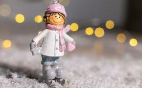 Картинка снег, праздник, рождество, мальчик, статуэтка, фигурка