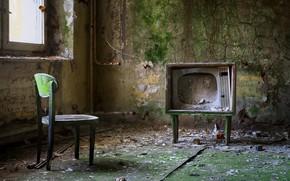Картинка телевизор, стул, окно