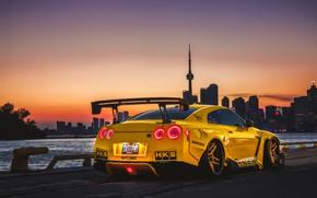 Картинка закат, тюнинг, вечер, Канада, Nissan, GT-R, Торонто, Canada, tuning, Toronto, Liberty Walk, Pandem