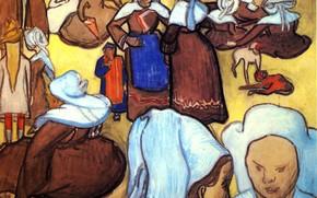 Картинка Винсент ван Гог, монашки, Breton Women, after Emile Bernard