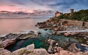 Картинка камни, Италия, природа, море, дом, башня, облака, пейзаж