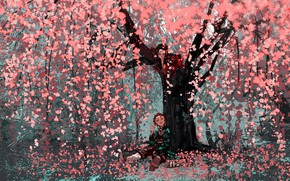 Картинка дерево, весна, Nezuko Kamado, Клинок Рассекающий Демонов, Tanjirou Kamado, Demon Slayer Kimetsu No Yaiba