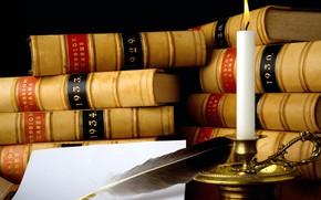 Картинка перо, книги, свеча
