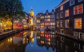 Картинка огни, вечер, канал, Нидерланды, Amsterdam, Голландия