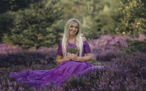 Картинка лето, девушка, цветы, природа