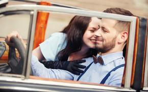 Картинка машина, авто, девушка, ретро, настроение, перчатки, борода, парень, парочка, влюблённые, Дмитрий Воробей