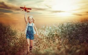 Картинка свет, девочка, самолёт
