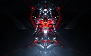 Картинка Шлем, Маска, Art, Neville Dsouza, Render, Фантастика, Cyborg, Mask, Helmet, Sci-Fi, Cyber, Science Fiction, Cyberpunk, …