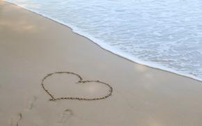 Картинка песок, море, волны, пляж, лето, любовь, summer, love, beach, sea, heart, romantic, sand, I love ...