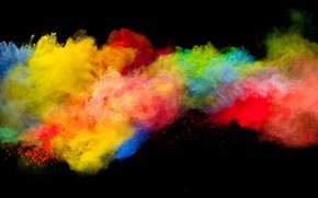 Картинка colors, boom, dark background, blast, powder explosion