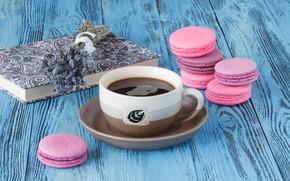 Картинка кофе, печенье, книга, лаванда