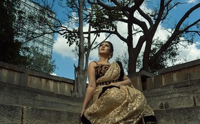Картинка girl, beautiful, model, pretty, pose, indian, actress, celebrity, bollywood, saree, sari, traditional, Raksha somashekhar