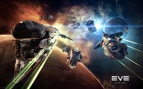 Картинка туманность, планета, Космос, space, битва, космический корабль, eve online, battle, space ship, космоопера