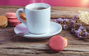 Картинка чай, пирожные, Макароны