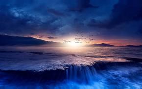 Картинка море, небо, солнце, облака, свет, полет, пейзаж, закат, горы, птицы, тучи, природа, темный фон, рендеринг, …