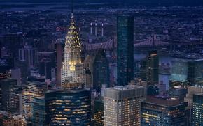 Картинка city, lights, USA, bridge, night, New York, Manhattan, NYC, New York City, skyscraper, Chrysler Building, …