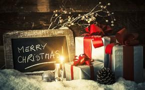 Картинка снег, украшения, шары, Рождество, подарки, Новый год, new year, Christmas, balls, wood, snow, merry christmas, …