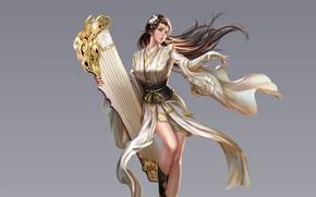 Картинка Girl, Beautiful, Art, Style, Fiction, Characters, Dress, Figure, Three Kingdoms, An Hua, Guqin, China bard …