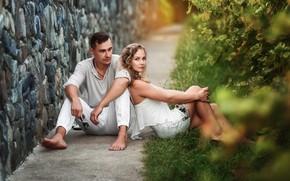 Картинка взгляд, девушка, стена, платье, пара, мужчина, влюбленные, Бармина Анастасия