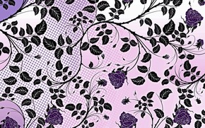 Картинка цветы, фон, узор, розы