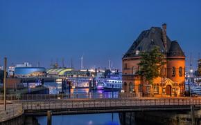 Картинка ночь, мост, город, дом, река, здание, Германия, Гамбург, теплоходы