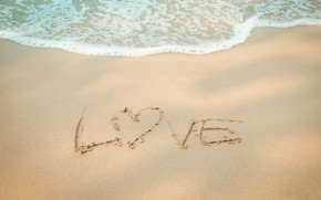 Картинка песок, море, волны, пляж, лето, summer, love, beach, sea, heart, blue, sand, wave