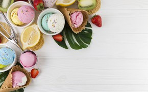 Картинка ягоды, мороженое, цитрус