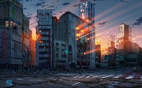 Картинка авто, закат, Япония, Токио, руины