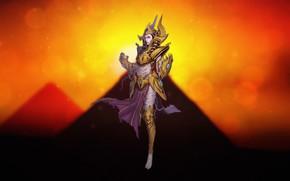 Картинка Закат, Девушка, Доспехи, Стиль, Пирамиды, Костюм, Египет, Арт, Art, Sunset, Egypt, Фантастика, Concept Art, Characters, …