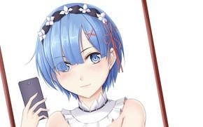 Картинка взгляд, девушка, аниме, арт, телефон, мобильный, Re: Zero kara Hajimeru Isekai Seikatsu, С нуля, Рем