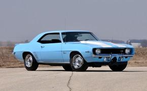Картинка Chevrolet, Camaro, Blue, Coupe, Muscle car, Z28, Cross Ram
