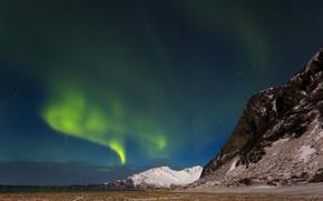Картинка горы, северное сияние, Исландия