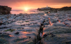 Картинка море, закат, берег, маяк
