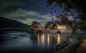 Картинка небо, река, замок, лодка, здания, дома, Швейцария, церковь, набережная, Switzerland, Aare River, Aarburg, Река Аре, …