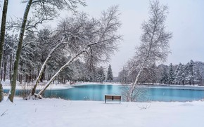 Картинка зима, парк, скамья