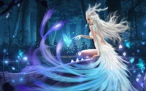 Картинка вода, деревья, lights, магия, огоньки, фея, trees, water, fairy, fantasy art, blonde hair, magic forest, …