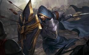 Картинка sword, fantasy, tower, soldier, armor, war, Warrior, walls, battle, castle, weapons, artwork, shield, fantasy art, …