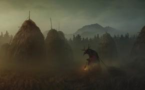 Картинка Туман, Монстр, Демон, Тьма, Monster, Darkness, Фантастика, Horror, Fog, Demon, Сеновал, Yuri Hill, by Yuri …