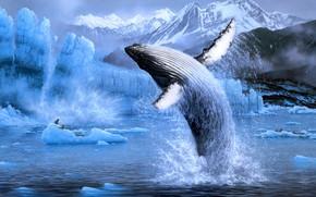 Картинка зима, море, вода, снег, горы, брызги, природа, поза, прыжок, берег, рисунок, вершины, лёд, картина, ледник, …