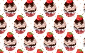 Картинка фон, текстура, десерт, background, pattern, Strawberry, cupcake, кексы