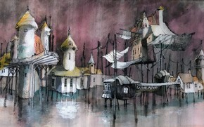 Картинка город, рисунок, утопия