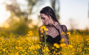 Картинка поле, девушка, цветы, природа, поза, Andrea Carretta