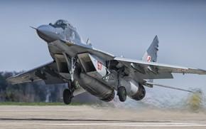 Картинка Истребитель, Форсаж, Взлет, Миг-29, Шасси, ВВС Польши
