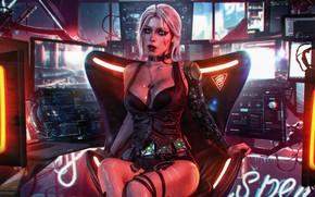 Картинка Девушка, Игра, Арт, Digital Art, Witcher, Fan Art, Персонаж, Cyberpunk 2077, Ласточка, Цири, Witcher 3, …