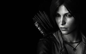 Картинка lara croft, tomb raider, face, black and white, look, bow, arrows, dark hair, jacket, sight