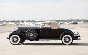 Картинка Roadster, black, вид сбоку, retro, Convertible, Chrysler Custom Imperial