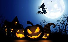 Картинка lights, vector, Halloween, moon, house, fantasy, sky, night, stars, tree, holiday, artwork, fantasy art, witch, …