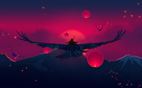 Картинка Закат, Солнце, Вечер, Горы, Птица, Гора, Полет, Птицы, Фонарь, Fantasy, Birds, Art, Evening, Mountains, Bird, ...